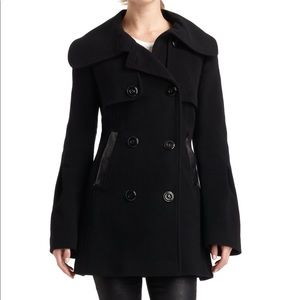 Mackage Black Wool and Leather Pea Coat